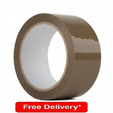 6 Strong Brown Buff Parcel Packaging Packing Tape 50MM x66M Box Sealing Rolls