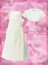 NEW AGE 8/9 Dress Bolero Jacket BHS Bridesmaid Communion MARGAUX IVORY SATIN £83