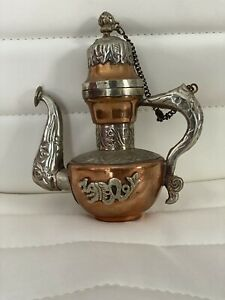 """Vtg Tibetan Tea Pot Red Copper And Silver 4"""" Without The Cover 6"""" With"""