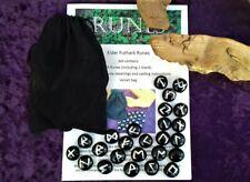 Rune Set 25 Black Glass Elder Futhark Runes, Bag + Leaflet Wiccan Divination new