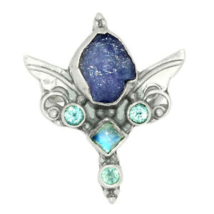 Angel Wings - Tanzanite Crystal & Moonstone 925 Silver Ring s.6.5 BR42807