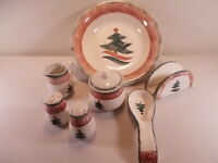 Gibson Christmas Tabletop Salt Pepper Spoon Rest Napkin Holder Bowl Cream Sugar