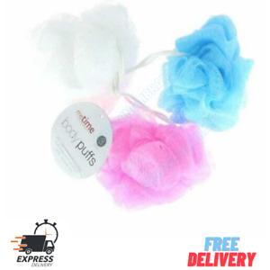 3 pc Shower Body Puff Bath Sponge Scrunchies Loofah Body Wash Assorted Colours