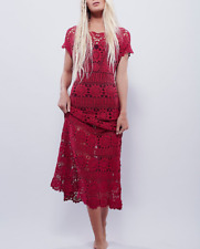 Free People Ruby Fairytale Cotton Crochet Maxi Dress Sz S