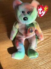 Ty Beanie Baby - Peace Bear - 1996 - w/ errors - Garcia - Grateful Dead