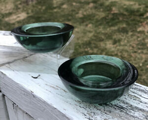 (2) LUMINESSENCE Modern Green Blue Glass Round Votive Tealight Candle Holders