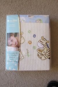 BUBBA BLUE EMBROIDERED COT WAFFLE BLANKET WITH COTTON LINING IN GIFT BOX