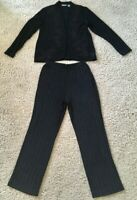 Chico's Travelers Black Floral Cardigan & Pinstripe Pant Set Size 1 Regular