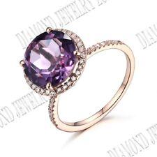 18k White Gold Pave Prong Setting Amethyst & Natural SI/H Diamonds Wedding Ring