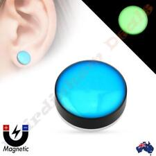 Blue Dome Top Acrylic Glow in the Dark Non Piercing Magnetic Ear Plug