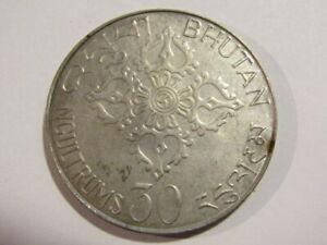 Bhutan 1975 30 Ngultrums Silver unc Coin
