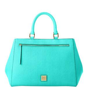 NWT Dooney & Bourke Saffiano Leather Zip Satchel Handbag Mint Color New