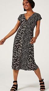 Monsoon Serenity Patch Print Midi Dress, Size S, Black Multi, BNWT