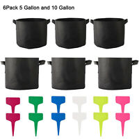 6Pack Grow Bag 5 + 10 Gallon Fabric Pots Plant Root Container Black with Handle