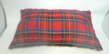 """12"""" by 20"""" Throw Pillow Red Plaid Corduroy Hand Made Stuffed Foam Name Babbs"""