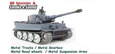 Heng Long Radio Telecomando RC German Tiger Tank Pro tutto in metallo ROAD WHEELS UK
