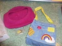 American Girl Doll Ivy's Retired Accessories Purse Beret Julie's Friend Grace