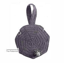 Vintage Crochet Pattern for Spider Web Purse Novelty Handbag Bag Free Ship Goth