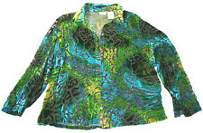 White Stag women's blue, green and black floral pattern blouse, size L (12/14)