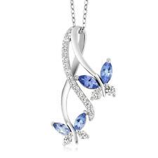 Fashion Lady Silver Blue Zircon Butterfly Pendant Necklace Joker Jewelry Gift