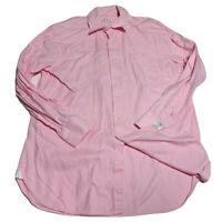 Peter Millar Men's Solid Pink Button Up Dress Shirt Size Large L 100% Cotton GUC