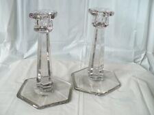 """Vintage Antique Glass Candlesticks 7"""" Pair Krys-tol Chippendale pat 1907"""