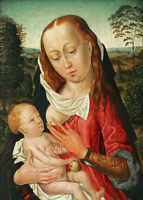Oil painting the Virgin Mary Madonna feeding child Christ Jesus in landscape 36""