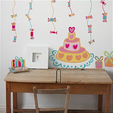 """BIRTHDAY CAKE giant wall stickers MURAL 28 decals candy presents gifts 39""""x28"""""""