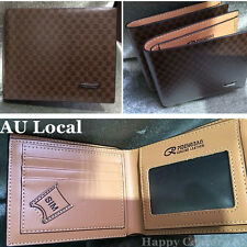 Brown Plaid Men's PU Leather Wallet Card Holder Clutch Bifold Purse CPURS3209