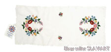HUNGARIAN hand-embroidered table runner Matyo folk art floral white original tag