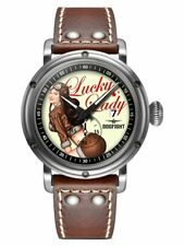 Dogfight Pin-Up Collection LUCKY LADY Brown Leather Mens Pilot Watch DF0041