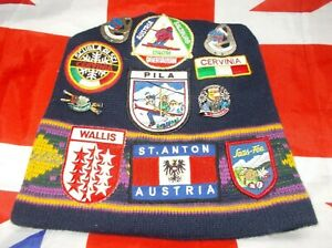 Vintage Ski Hat With Sew On Patches & Pin Badges