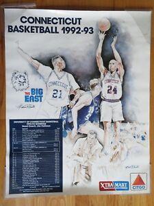 1992-93 UCONN HUSKIES Basketball BIG EAST Poster JIM CALHOUN Donyell Marshall
