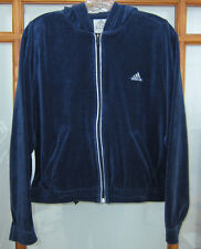 Adidas Velour Jacket Women's Large Velour Full Zip Hooded