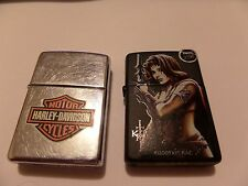 2 ZIPPO LOT HARLEY-DAVIDSON MOTOR CYCLES 2001 USED & 2005 KIT RAE UNFIRED