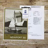 Vtg Sailboat Dealer Sales Brochure Lindsey Newport 30 Boating 1972 Yacht Boat Ad