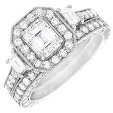 GIA certified Estate Antique Style 2.60 CT Emerald cut Diamond Wedding Ring 18K