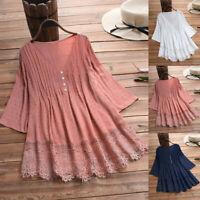 Womens Vintage Cotton Linen 3/4 Sleeve Lace V-Neck Plus Size Top T-Shirt Blouse