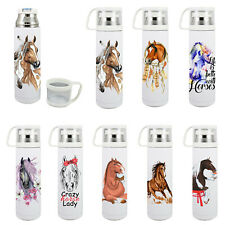 Thermos flask drink travel bottle 500ml with cup 8 horse images to choose new