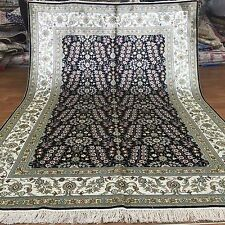 Yilong 5'x8' Black Handmade Silk Area Rugs Kashmir New Hand Knotted Carpets L38B