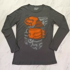 Fox Large Dark Gray Thermal Orange Gray Long Sleeve Graphic Tee