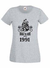 T-shirt Maglietta donna J2261 Fast Motor and Skull Born To Ride Since 1991