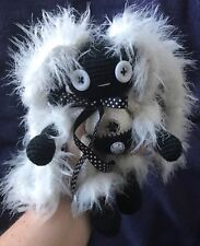 Black and white bunny toy Handmade cute ooak gift crochet lady woman girl artist