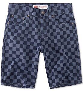 Levi's Little Boys 502 Checkerboard-Print Taper-Fit Denim Shorts Sz 5 REG Blue