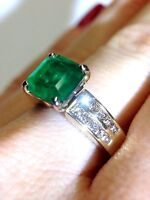 Deep Vivid 2.54CT Colombian Emerald and Diamond 14K Yellow Gold Ring Size 7.25