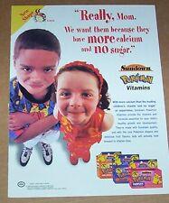 2001 print ad page - Sundown Pokemon vitamins cute girl boy Nintendo advertising