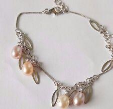 Freshwater pearl  delicate 925 sterling silver bracelets