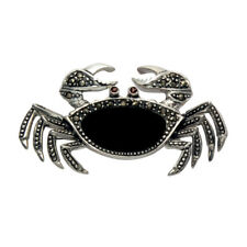 Sterling Silver Marcasite & Black Onyx Crab Pin w/Movable Front Claws - MPN22