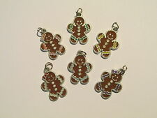12 Enamel GINGERBREAD MAN CHARMS bulk FREE SH cookies wholesale Christmas charm