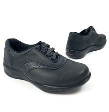 SAS Womens Walk Easy Sneakers Comfort Walking Shoe Black Nubuck Leather sz 8.5 W